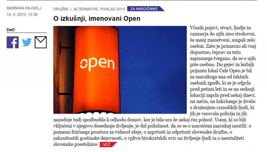 o izkusnji imenovani open